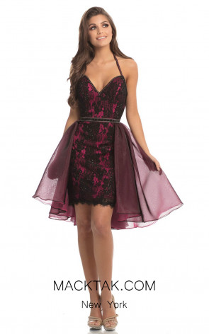 Johnathan Kayne 8238 Black Fuchsia Front Dress