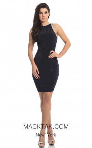 Johnathan Kayne 8244 Navy Front Dress