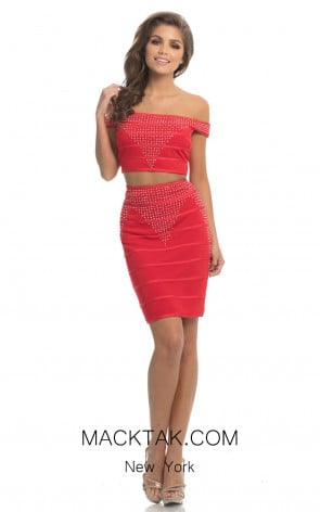 Johnathan Kayne 8245 Red Front Dress