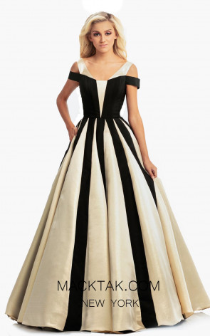 Johnathan Kayne 9000 Black Gold Front Dress