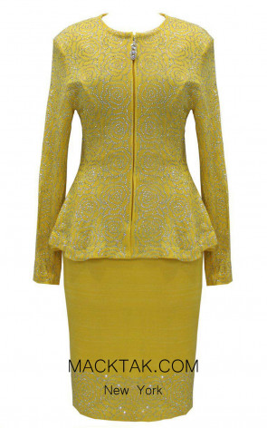KNY H137 Yellow Front Knit Suit