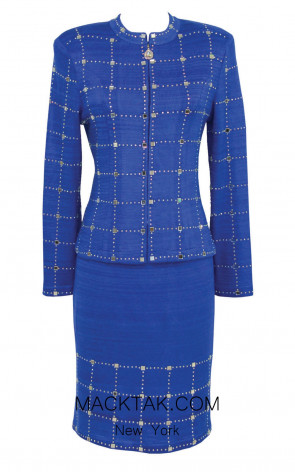 KNY H138 Royal Blue Front Knit Suit