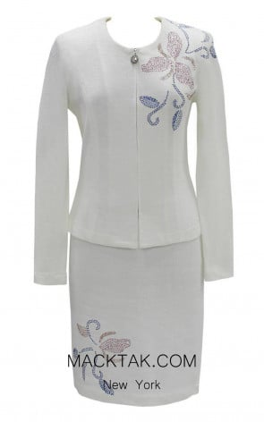 KNY H151 White Front Knit Suit