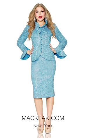Kourosh 4687 Knit Aqua Front Suit