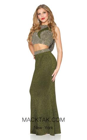 Kourosh Evening 4900 Green Front Dress
