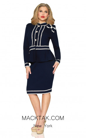 Kourosh 4907 Navy Front Knit Suit