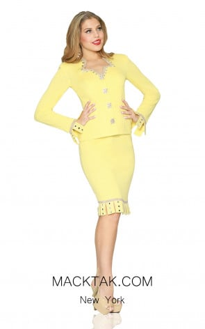 Kourosh 4926 Yellow Front Knit Suit