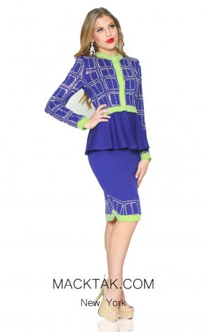 Kourosh 4946 Royal Blue Cdm Front Knit Suit