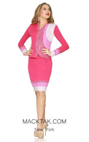 Kourosh 4964 Pink Front Knit Suit