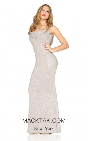 Kourosh Evening 80005 Platinium Front Dress