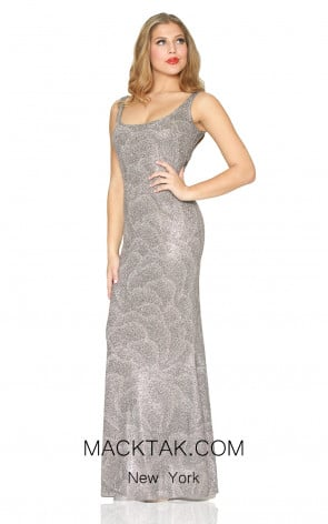 Kourosh Evening 80058 Silver Front Dress
