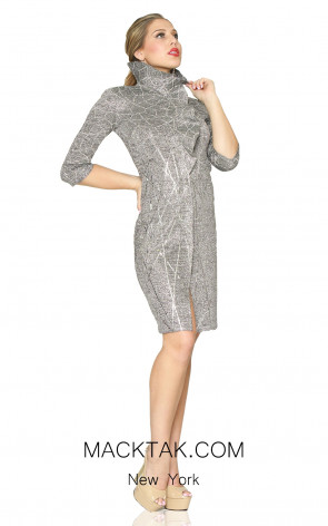 Kourosh Evening 80100 Silver Front Dress