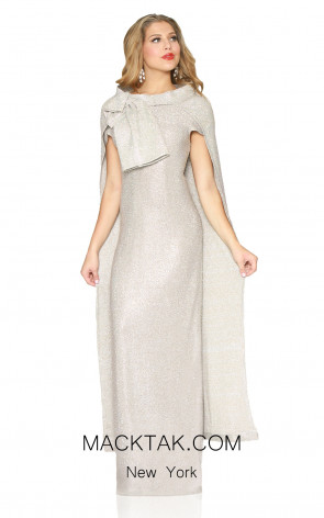 Kourosh Evening 80121 Platinium Front Dress
