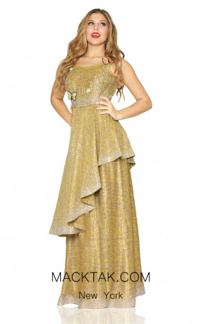 Kourosh Evening 80122 Gold Front Dress