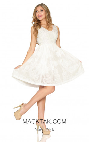 Kourosh Evening 80127 White Front Dress