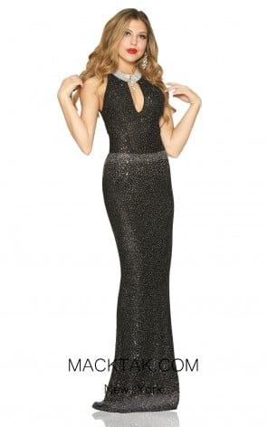 Kourosh Evening 9005 Black Front Dress