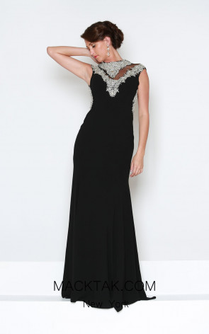 Kourosh Evening E3967 Black Front Dress