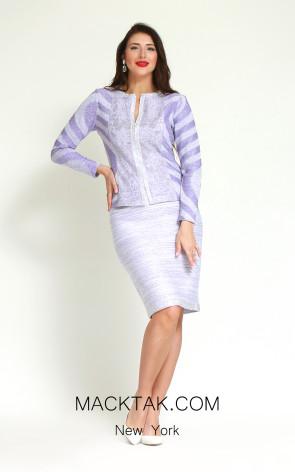 Kourosh H186 Lilac White Front Dress