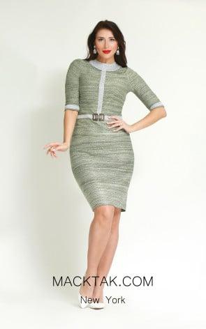Kourosh H862 Silver Green Front Dress