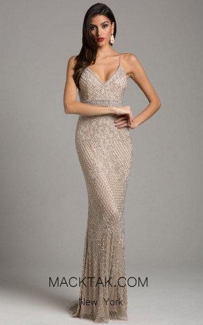 Lara 29904 Nude Silver Front Evening Dress