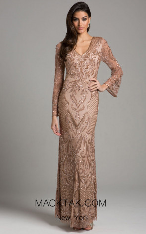 Lara 29910 Champagne Front Evening Dress