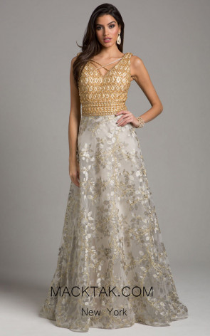 Lara 29957 Gold Silver Front Evening Dress