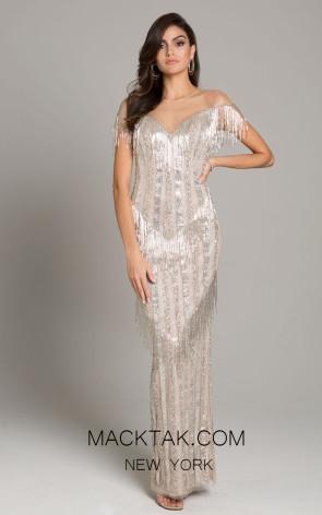 Lara 29847 Champagne Silver Front Dress
