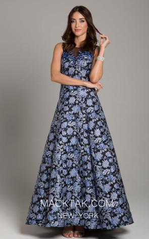 Lara 29867 Navy Floral Front Dress