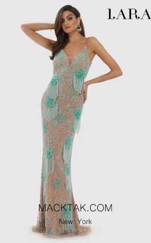 Lara 29892 Nude Turq Front Dress