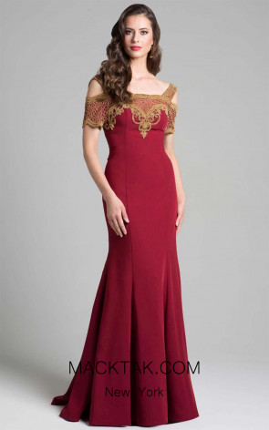 Lara 33199 Dark Red Front Dress