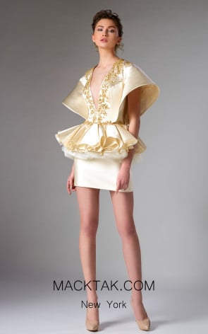 Edward Arsouni FW0271 Champagne Gold Front Dress