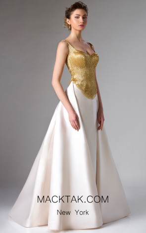 Edward Arsouni FW0272 Champagne Gold Front Dress