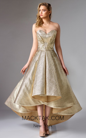 Edward Arsouni FW0273 Gold Front Dress