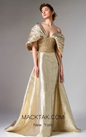 Edward Arsouni FW0277 Gold Front Couture Dress