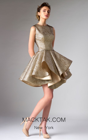 Edward Arsouni FW0278 Gold Front Dress