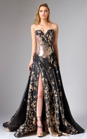 Edward Arsouni FW0279 Black Gold Front Dress