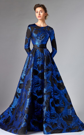 Edward Arsouni FW0286 Blue Black Front Dress