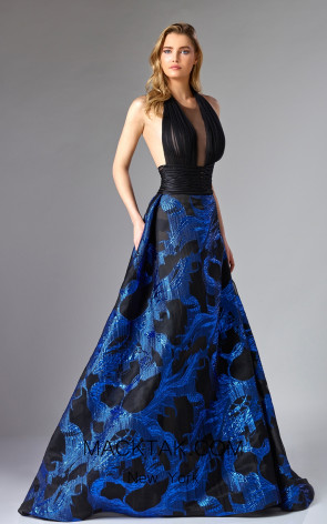 Edward Arsouni FW0288 Black Blue Front Dress