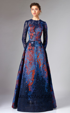 Edward Arsouni FW0291 Blue Front Dress