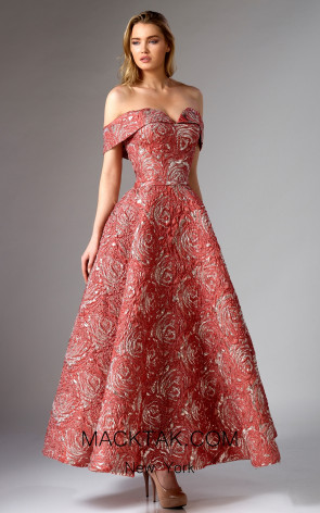 Edward Arsouni FW0292 Red Gold Front Dress