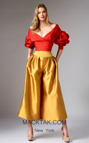 Edward Arsouni FW0295 Red Gold Front Dress