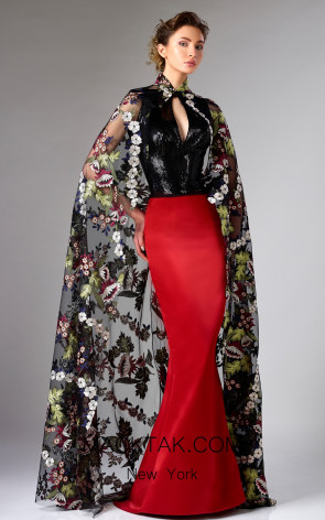 Edward Arsouni FW0298 Black Multi Red Front Dress