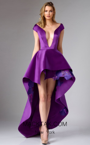 Edward Arsouni FW0300 Purple Front Dress