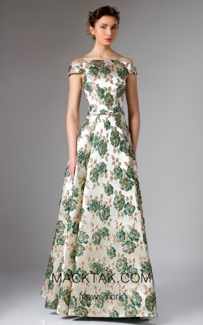 Edward Arsouni FW0307 Emerald Gold Front Dress