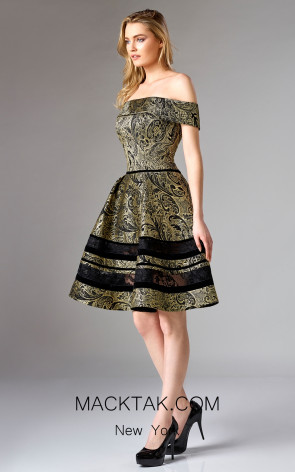 Edward Arsouni FW0321 Black Gold Front Dress