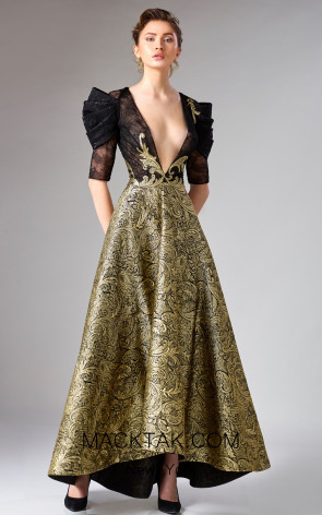 Edward Arsouni FW0322 Black Gold Front Dress