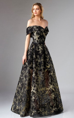 Edward Arsouni FW0327 Black Gold Front Dress