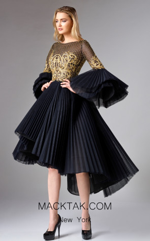 Edward Arsouni FW0328 Black Gold Front Dress