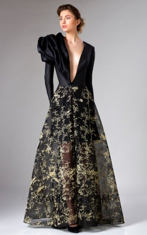 Edward Arsouni FW0329 Black Gold Front Dress