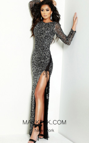 Lush by Jasz Couture 1508 Black Silver Front Prom Dress
